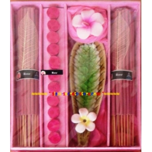 Aromatic Rose Flower Incense Premium gift Set Candle sticks Cones