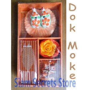 Incense Gift Set Dok Moke Burner Candle sticks Cones