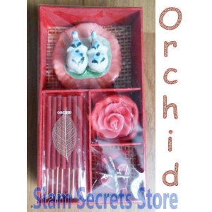 Fresh Orchid Incense gift Set, Burner Candle sticks Cones