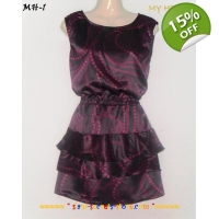 Layered Satin Mini Dress Sexy Purple 2 tone 8-10..
