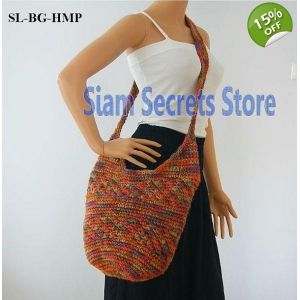 Hemp Monks Bag Knitted Design Asian Style Cross Shoulder Bag