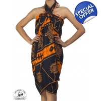 Black Sarong with Orange Batik Print Tribal Ocea..