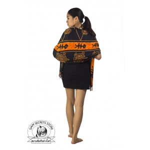 Black Sarong with Orange Batik Print Tribal Ocean Print