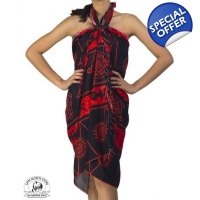 Red and Black Sarong Tribal Batik Print Ocean Pr..