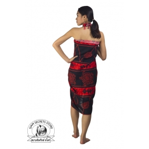 Red and Black Sarong Tribal Batik Print Ocean Print