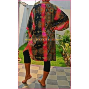 Ladies Poncho Top Thai Silk Caftan Stunning Pink Paisley L to 5X