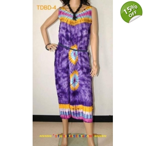 Unique Tie dye Summer Beach Ladies dress- Purple Soft Rayon