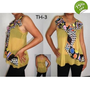 Stylish Chiffon Ruffle Ladies Top Yellow with Polka Dot Design