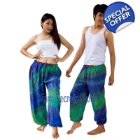 Real Tie dye Pants Blue Hippy Harem Unisex Trous..