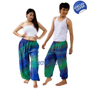 Real Tie dye Pants Blue Hippy Harem Unisex Trousers Best Quality