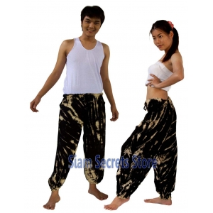 Tie Dye Hippy Trousers Black Low Colour Beach Harem Pants