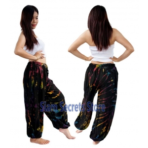 Black Tie dye Pants Unisex Harem Trousers with a Splash of Color