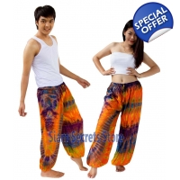 Tie Dye Hippy Trousers Orange Pattern Beach pant..