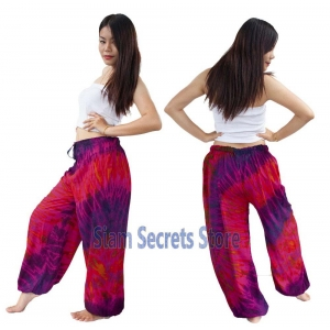 Pink Tie Dye Pants Rayon Hippy Beach Trousers Best Designs Unisex