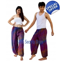 Purple Tie Dye Pants Rayon Hippy Beach Trousers ..