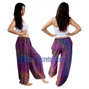 Purple Tie Dye Pants Rayon Hippy Beach Trousers Quality Designs