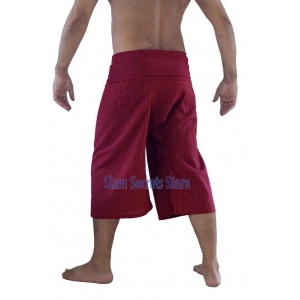 Siam Secrets Burgundy Fisherman Pants Capri Yoga Shorts Cotton