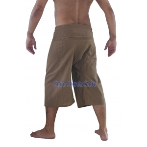 Beige Fisherman Pants Pinstripe Khaki Capri Yoga Shorts Cotton