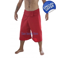 Red Fisherman Pants Pinstripe Capri Yoga Shorts ..