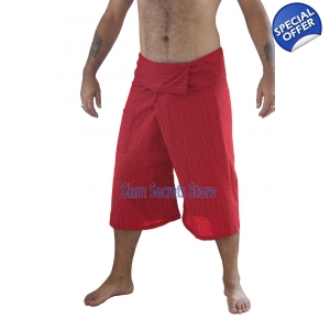 Red Fisherman Pants Pinstripe Capri Yoga Shorts Real Cotton