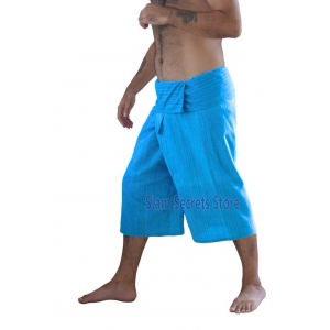 Siam Secrets Sky Blue Fisherman Pants Capri Yoga Shorts Cotton
