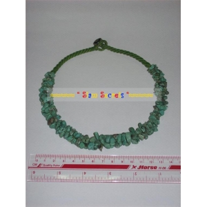 Necklace Natural Turquoise Ethnic Chip bead on Braided Cotton