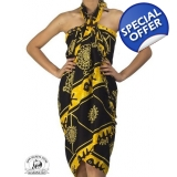 Black Sarong with Tribal Yellow Batik ..