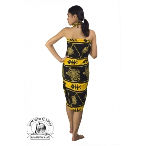 Black Sarong with Tribal Yellow Batik Print Ocean Print
