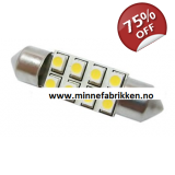 Led lyspære 12V 37mm Festoon 8 stk LED..