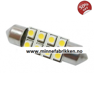 Led lyspære 12V 37mm Festoon 8 stk LED *LAV PRIS*
