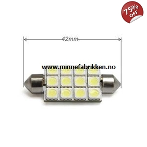 Led lyspære 12V 42mm Festoon 12 stk LED *LAV PRIS*