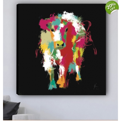 Cow Print on Canvas Dig..
