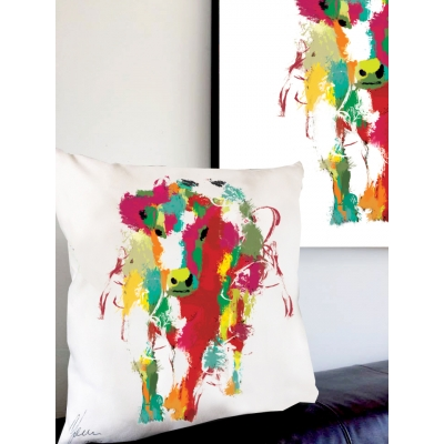 Cow Cushion- Colourful rainb..
