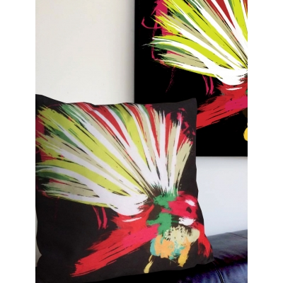 Fantail NZ Bird Print Cushion- Super Soft Faux Suede