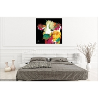 Highland Cow Fine Art Canvas Print- Black