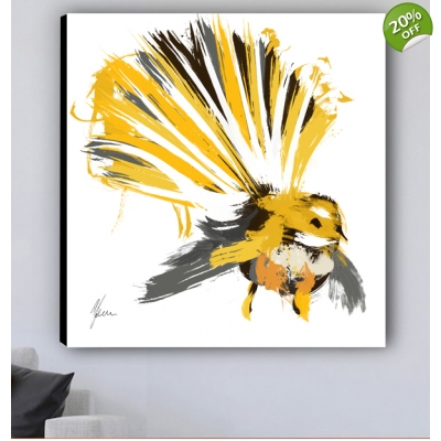Yellow Fantail Bird Canvas Print designed by Aimee Freeman