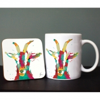 Scruffy Colourful Goat Mug and Coaster Gift Set