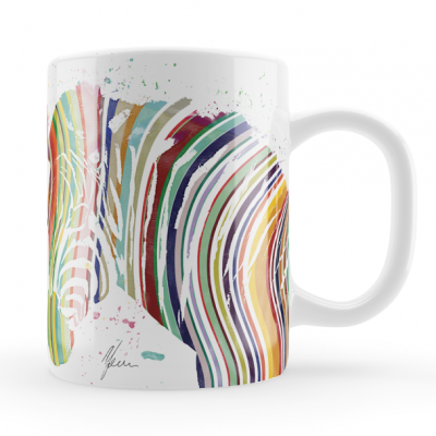Colourful Zebra Mug & Coaste..