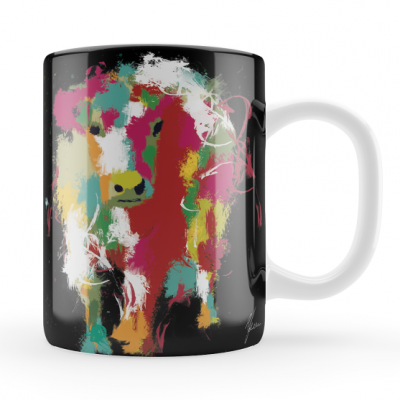 Scruffy Cow Colourful Mug & Coaster Gift Set- Black