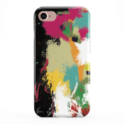 Colourful Scruffy Cow Phone Cover iphone & Samsung- Black