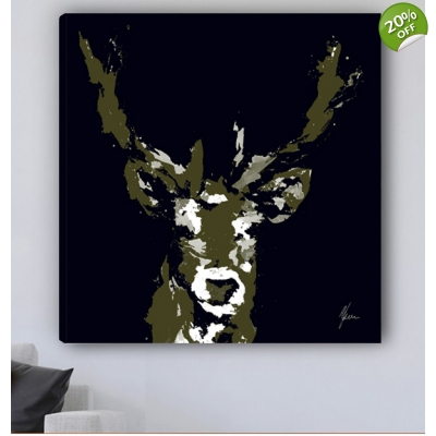 Stag Canvas Print Black..