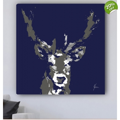 Stag Canvas Print Navy ..