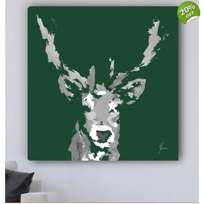 Stag Canvas Print Forest Green & Grey
