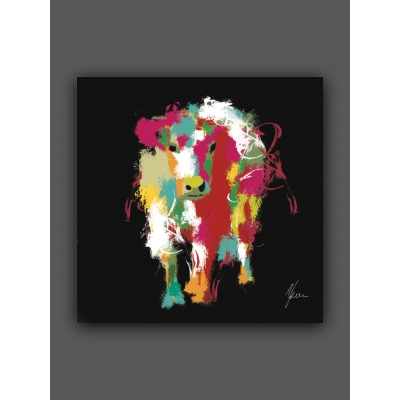 Cow Print by AFDesigns, hand finished with shimmering blue and silver foil