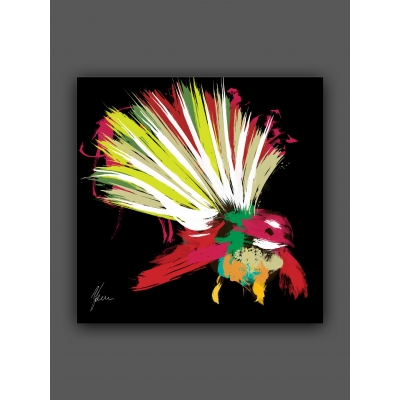 Scruffy Fantail New Zealand Bird Fine Art Print, foil finished by AFDesigns