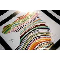 Zebra Fine Art Print by AFDesigns hand finished with blue and silver foil