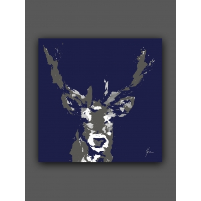 Stag Print Navy & Grey- Silver Foil Finished