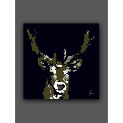 Stag Print Black & Gold- Gold Foil Finished