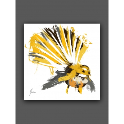 Yellow and Grey Fantail New Zealand Bird Fine Art Print, foil finished by AFDesigns