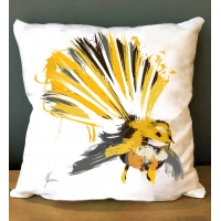 Yellow Fantail Bird Cushion 45x45cm Luxury Faux Suede